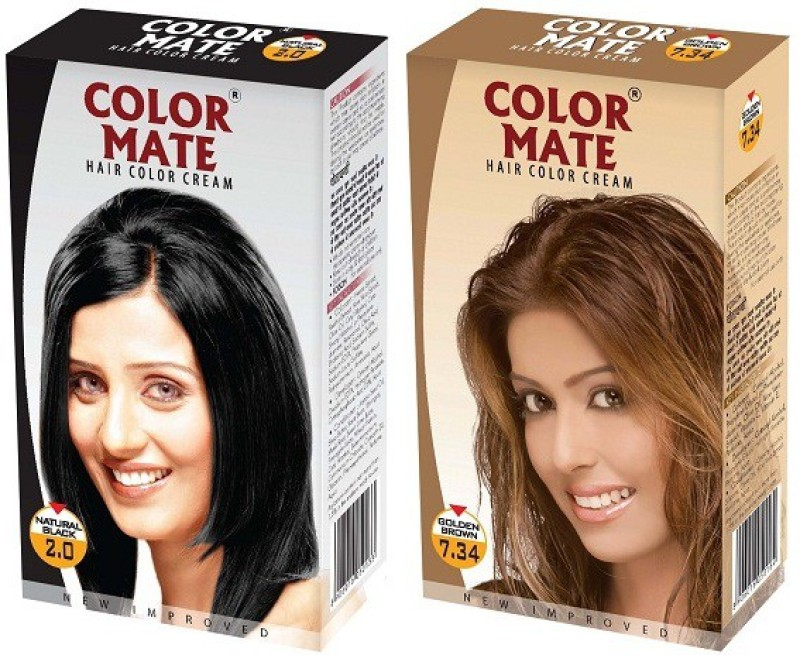 Color Mate Cream Hair Color(Natural Black + Golden Brown)