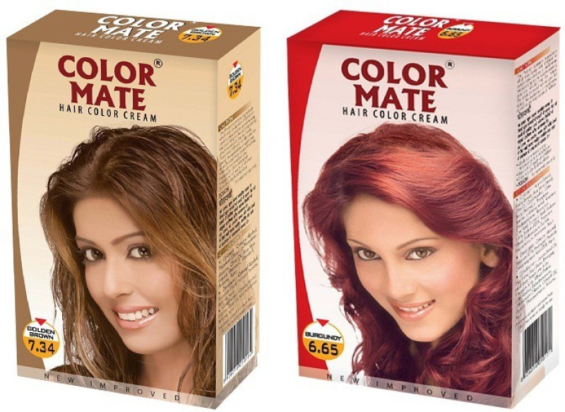 Color Mate Cream Hair Color(Golden Brown, Burgundy)