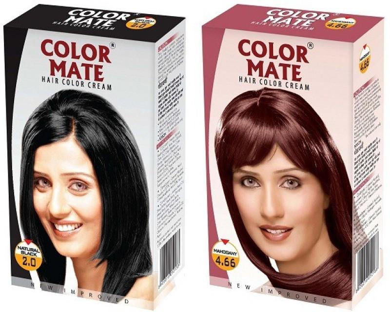 Color Mate Cream Hair Color(Natural Black + Mahogany)