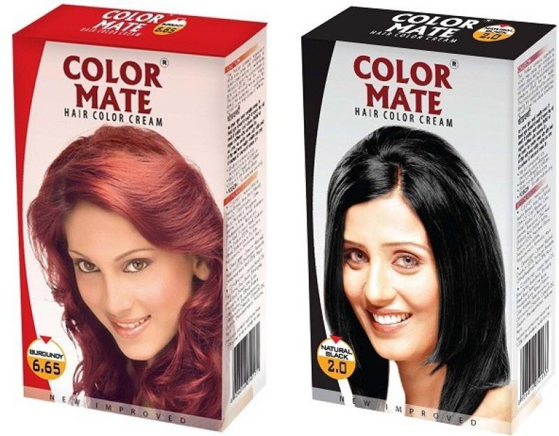 Color Mate Cream Hair Color(Burgundy + Natural Black)