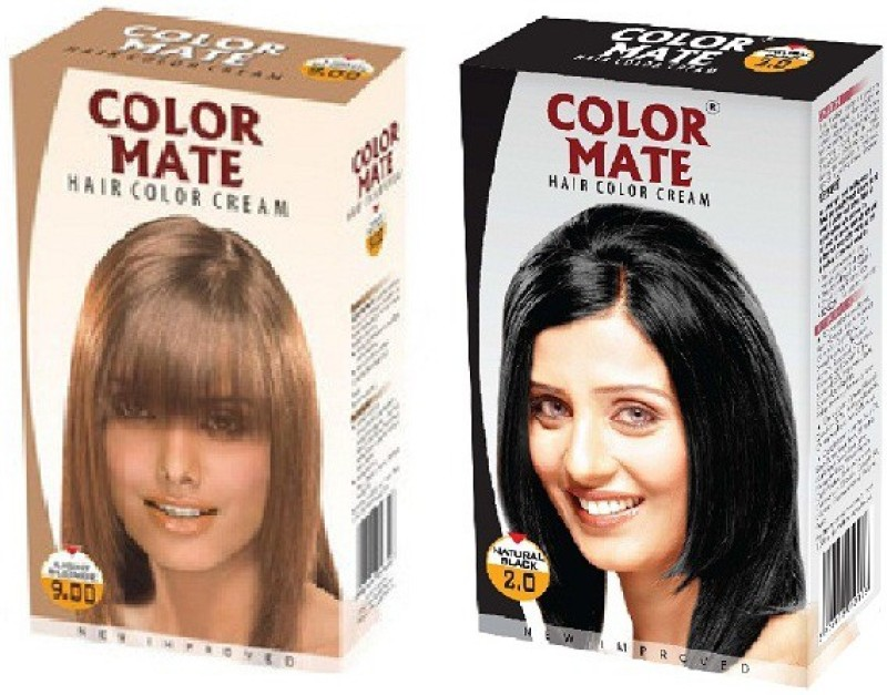 Color Mate Cream Hair Color(Light Blonde, Natural Black)