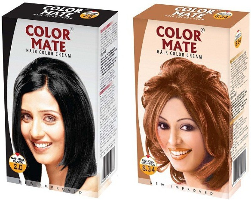 Color Mate Cream Hair Color(Natural Black + Golden Copper)