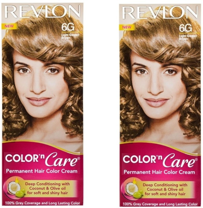 Revlon Color N Care Permanent Hair Color Cream - Light Golden Brown 6G - Pack of 2 Hair Color(Light Golden Brown)