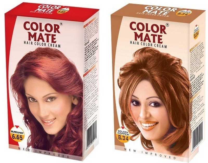 Color Mate Cream Hair Color(Burgundy + Golden Copper)