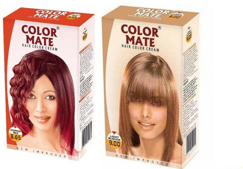Color Mate Cream Hair Color(Copper Red + Light Blonde)