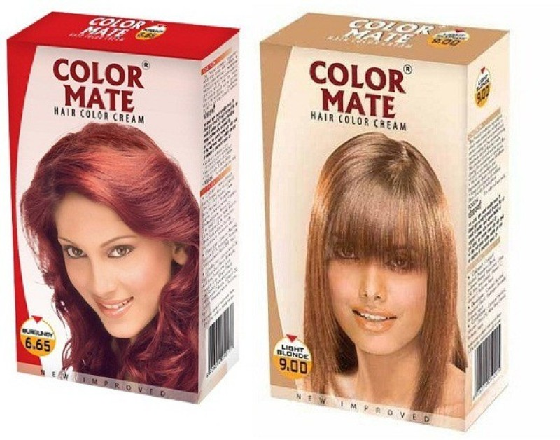 Color Mate Cream Hair Color(Burgundy + Light Blonde)