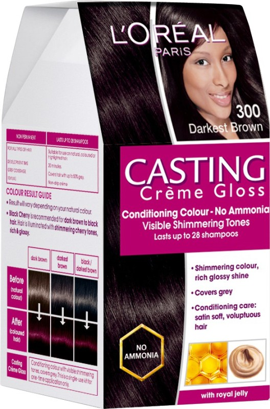 L'Oreal Paris Casting Creme Gloss Hair Color(Darkest Brown - 300)