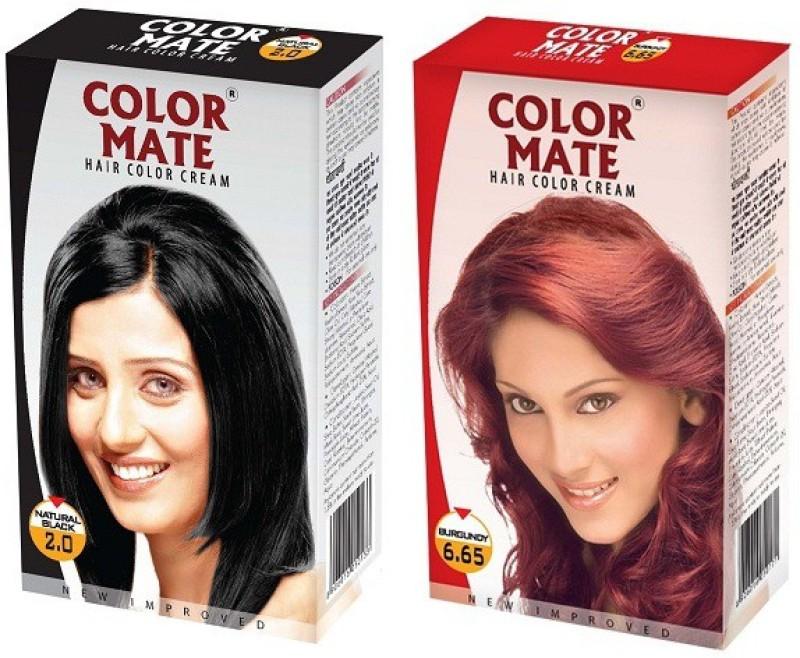 Color Mate Cream Hair Color(Natural Black + Burgundy)