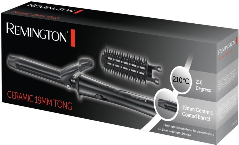 Remington Ceramic 19mm Tong Hair Curler(Black)