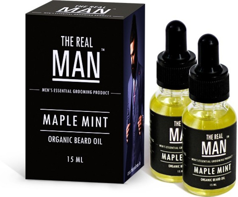 The Real Man Organic Beard Oil Maple Mint Pack of 2 Hair Oil(15 ml)