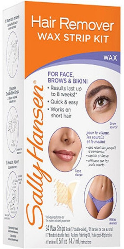 Sally Hansen Hair Remover Wax Strip Kit for Face, Brows & Bikini Strips(14.7 ml)