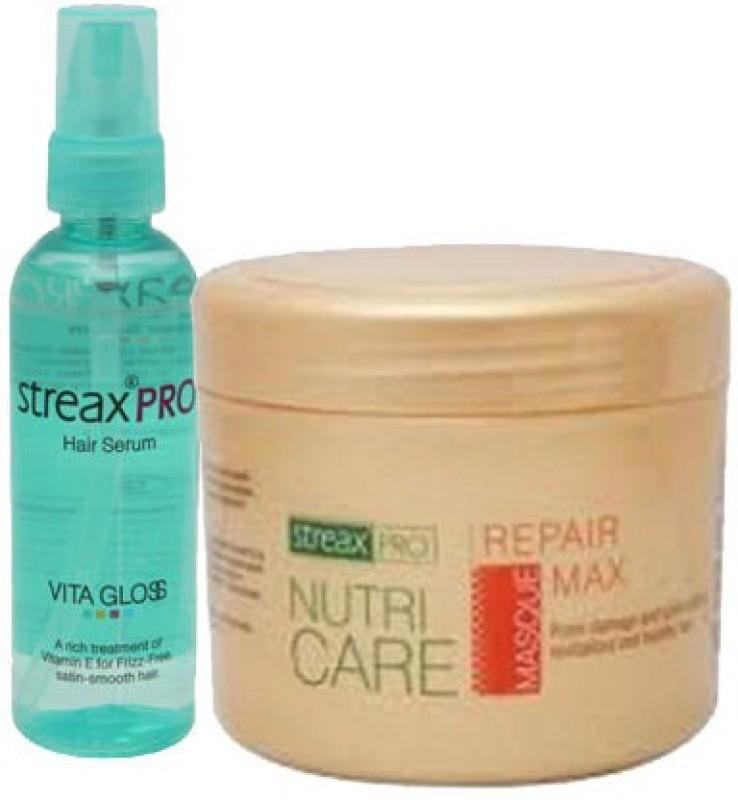 Streax Pro Hair Serum Vita Gloss 100ml combo with repair max masque 200g(300 ml)