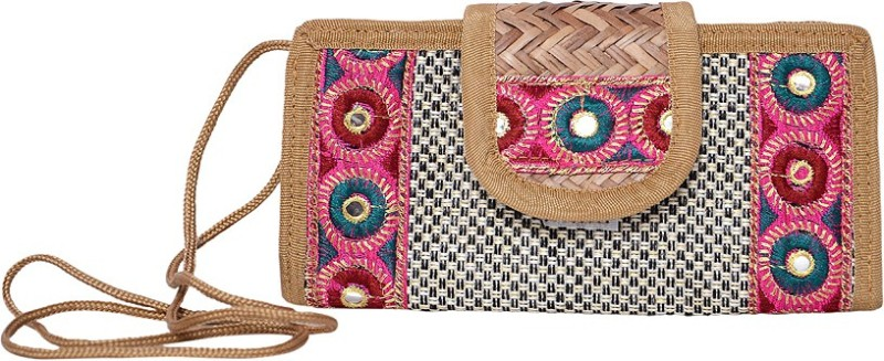 Roshiaaz casual Mirror work pouch Cosmetic Bag(Beige)