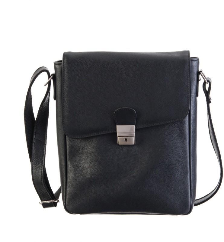 Goodwill Leather Art Men Black Messenger Bag