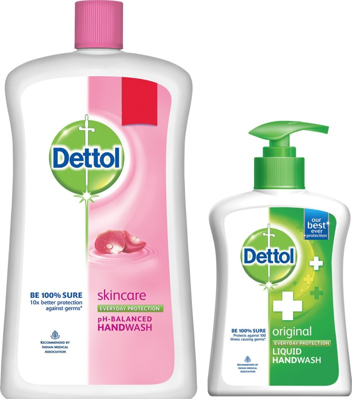 Dettol Liquid Soap Jar Skincare 900 ml+Dettol Original(1100, Bottle, Pack of 2)