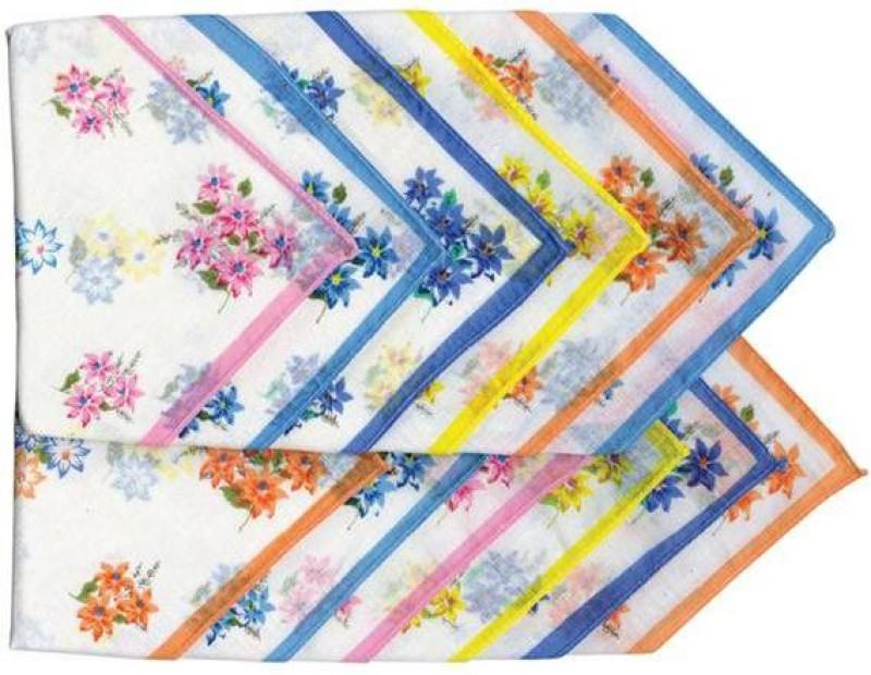 Kuber Industries Flowers Handkerchief(Pack of 12) Flowers