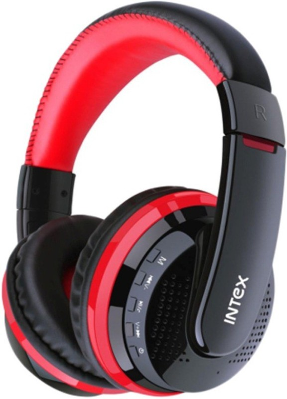 Intex Desire BT Multimedia Headphone Headphone(Black Red, Over the Ear)