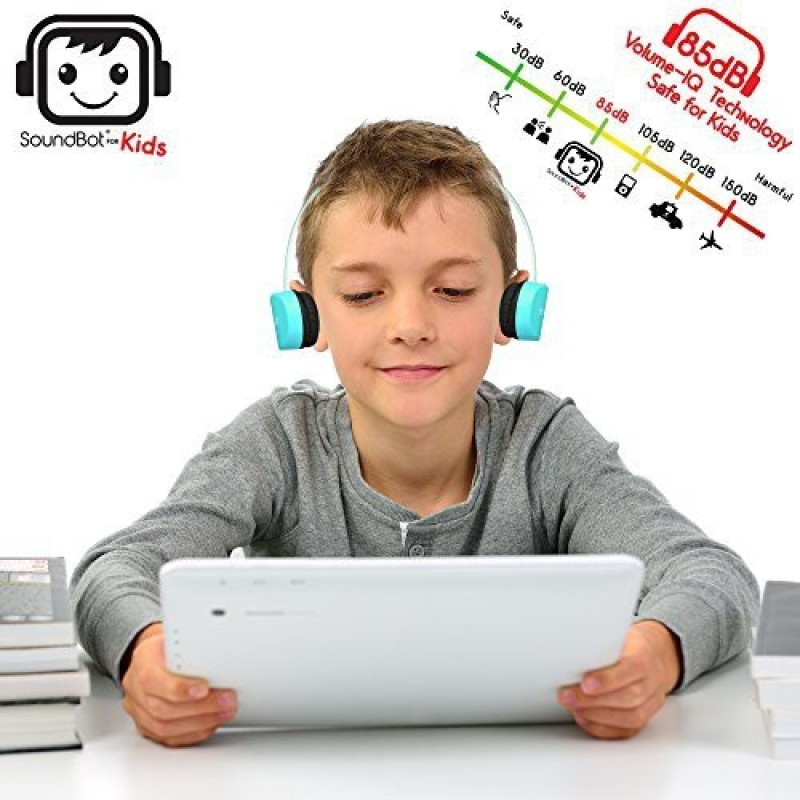 Soundbot For Kids Sb272 Volume-Iq Technology 85Db Safe For Kids Bluetooth V4.1 Headphone Wireless Headset For Music Streaming & Hands Headphone(Light Blue)