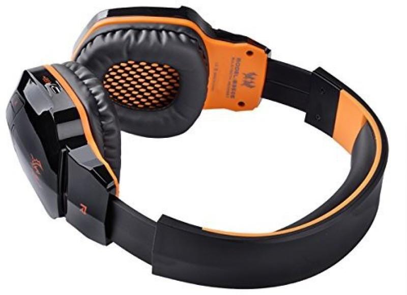 Pixnor Wireless Nfc Bluetooth Stereo Gaming Headphone Headset With Mic (Black+) Wired bluetooth Headphone(Orange)