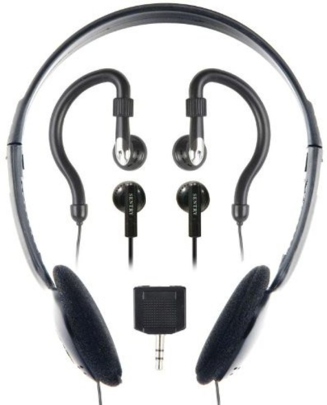 Sentry Industries Inc. Sentry Ho894 Headphone With 2-Way Splitter Plug - 3 Pack Headphone(Black)