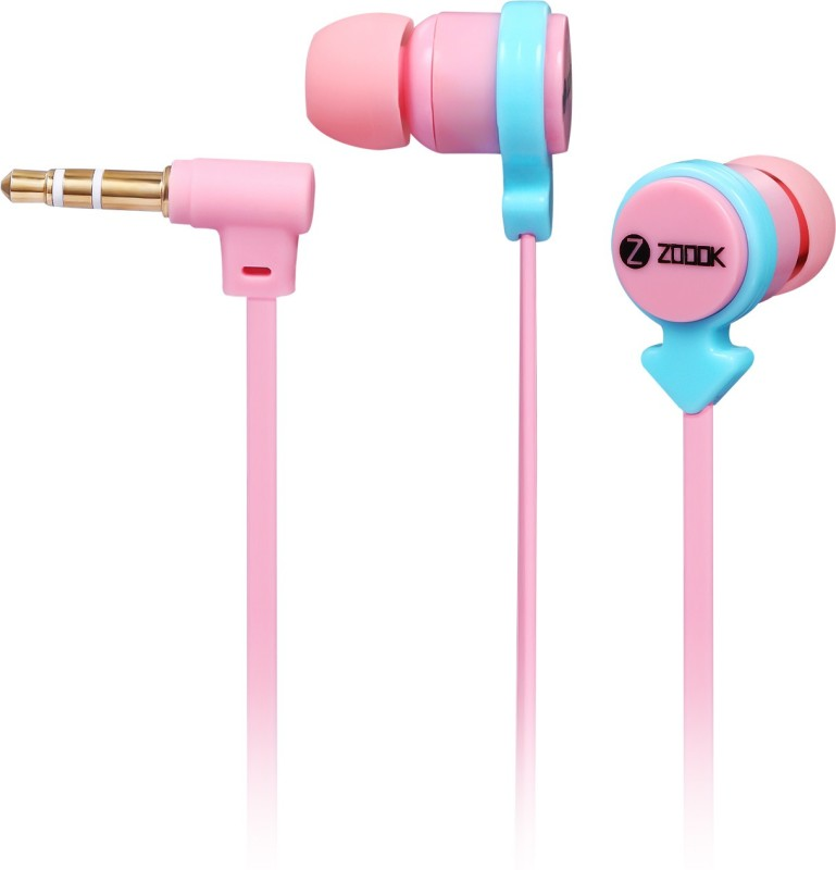 Zoook Noise Pair of 2 Noise-Isolating Earphones with Splitter Wired Headphone(Pink & Light Blue, In the Ear)