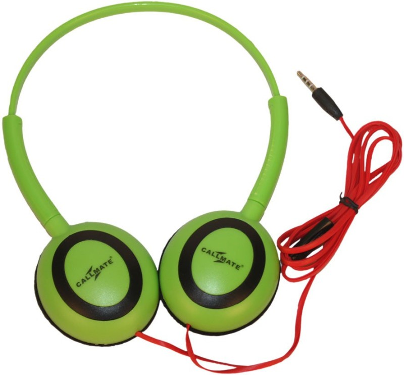 Callmate Headphone Ovel With Mic Headset with Mic(Green, On the Ear)
