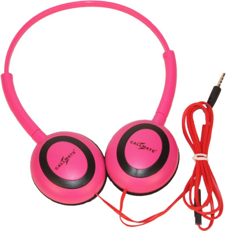 Callmate Headphone Ovel With Mic Headset with Mic(Pink, Over the Ear)