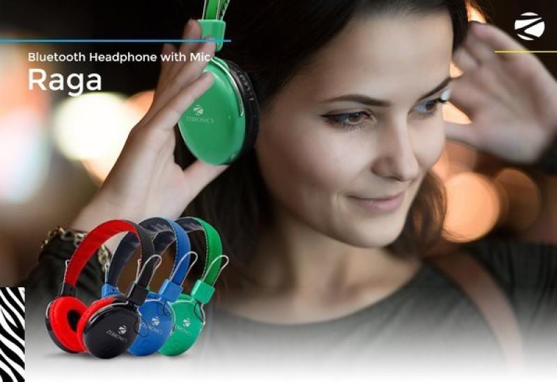 Zebronics Raga Bluetooth Headphone(Blue, Over the Ear)