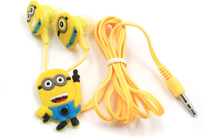 A Connect Z Minions Cartoon Design AcZ Great sound Base Stud ZR-171 Headset with Mic(Yellow, In the Ear)