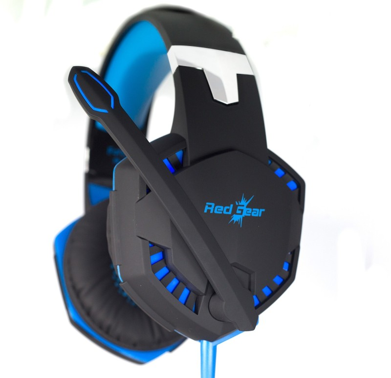 Redgear HellFury 7.1 Professional Gaming Headphones with LED Light, Retractable Microphone and In-line controller for audio/Mic/Led. Headset with Mic(Blue, Black, Over the Ear)