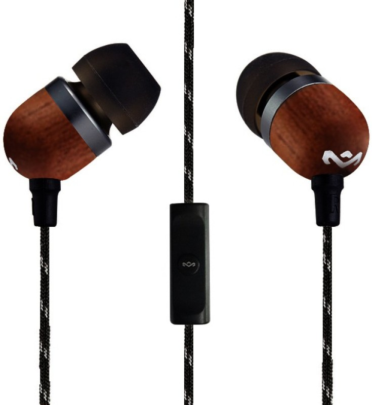 House of Marley Smile Jamaica EM-JE041-SB Headset with Mic(solid black, In the Ear)