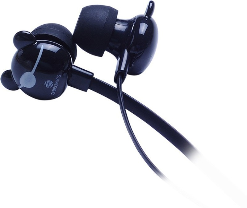 Zebronics Funky Bear Wired Headset with Mic(Black, In the Ear)