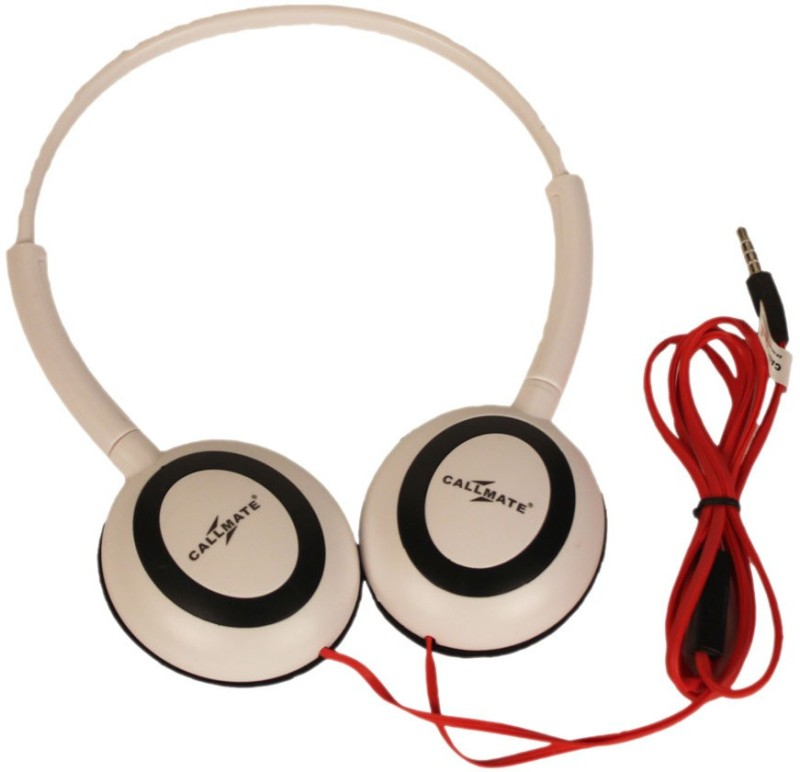 Callmate Headphone Ovel With Mic Headset with Mic(White, Over the Ear)