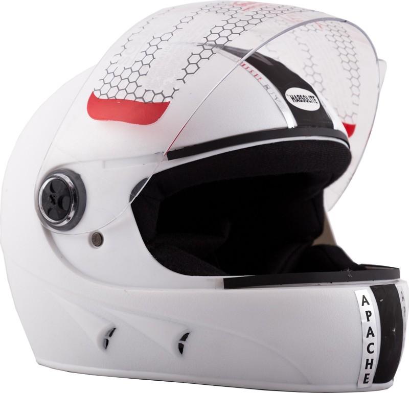 Autofy Habsolite Apache White Motorbike Helmet(White)