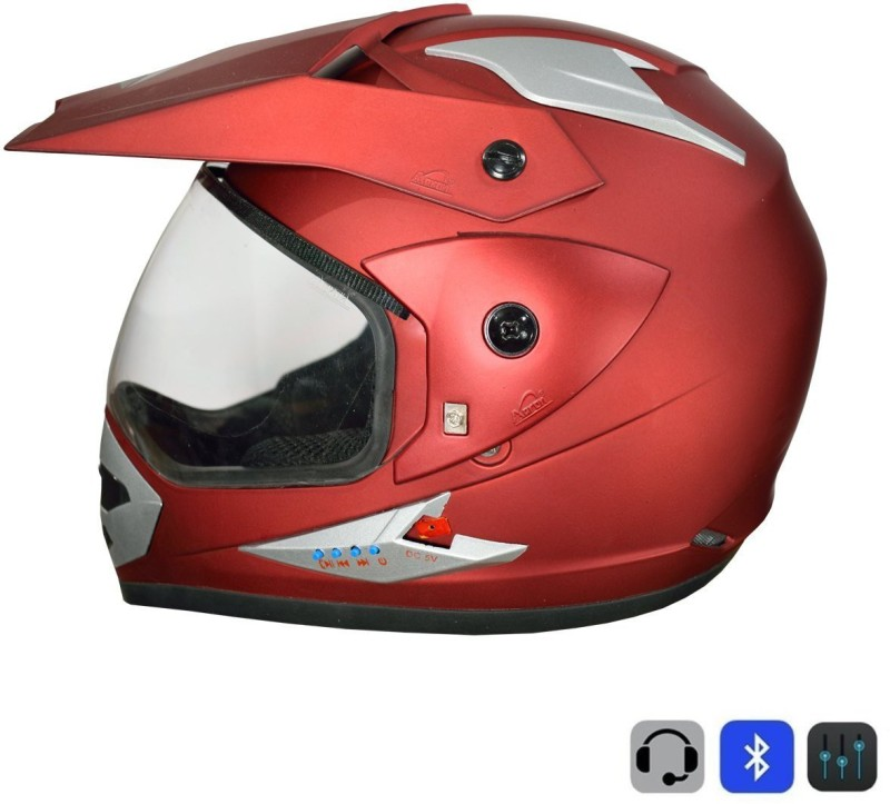 Greenstone Moto-X Plain Bluetooth Motorbike Helmet(Matte Cherry Red)