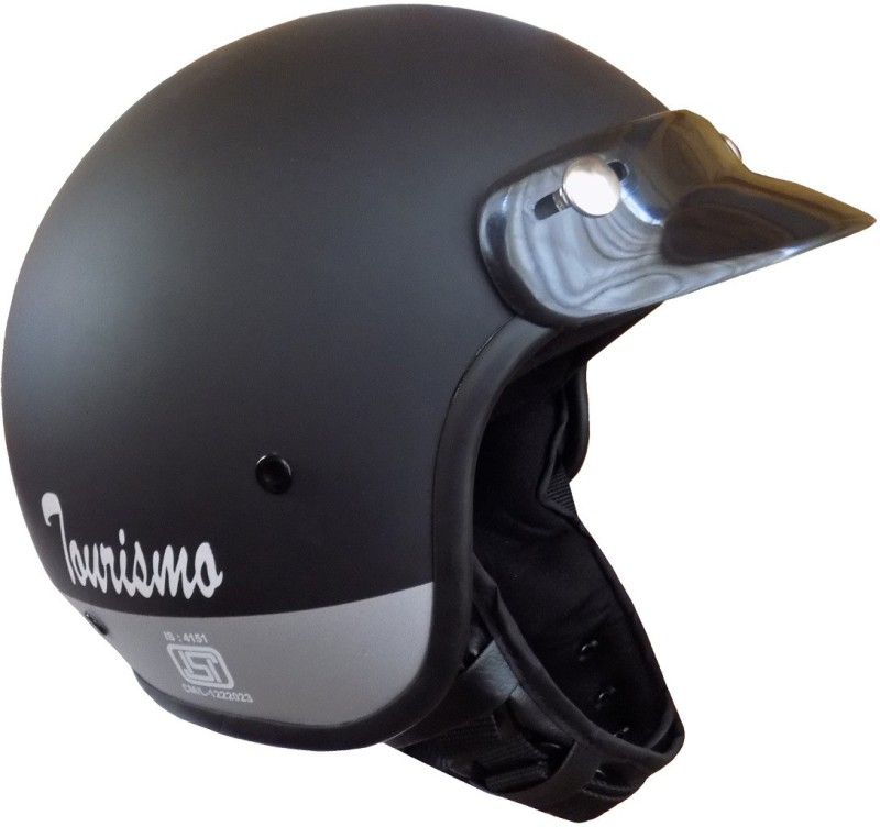 Anokhe Collections Tourismo Retro Styled Motorbike Helmet(Black Matte)