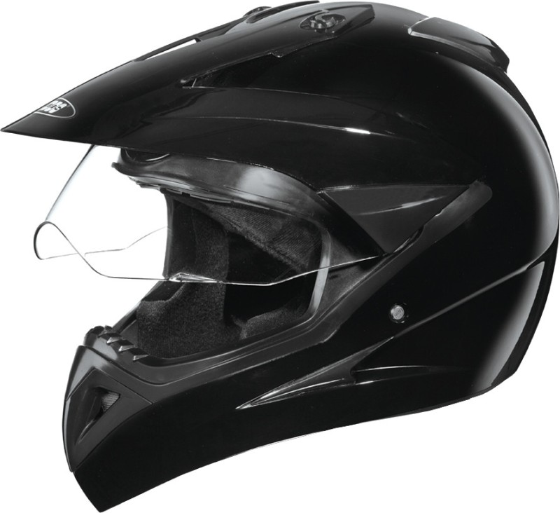 Studds Motocross with Visor Plain Motorsports Helmet(Black)