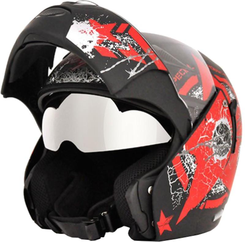 Vega Boolean Navy Motorsports Helmet(Dull Black, Red)