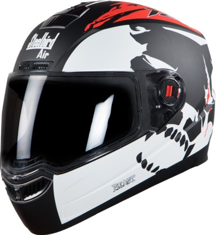 Steelbird Steelbird Air-1 Beast Motorbike Helmet(SBA-1 Beast Glossy Black and Red with Smoke Visor Medium 580MM)