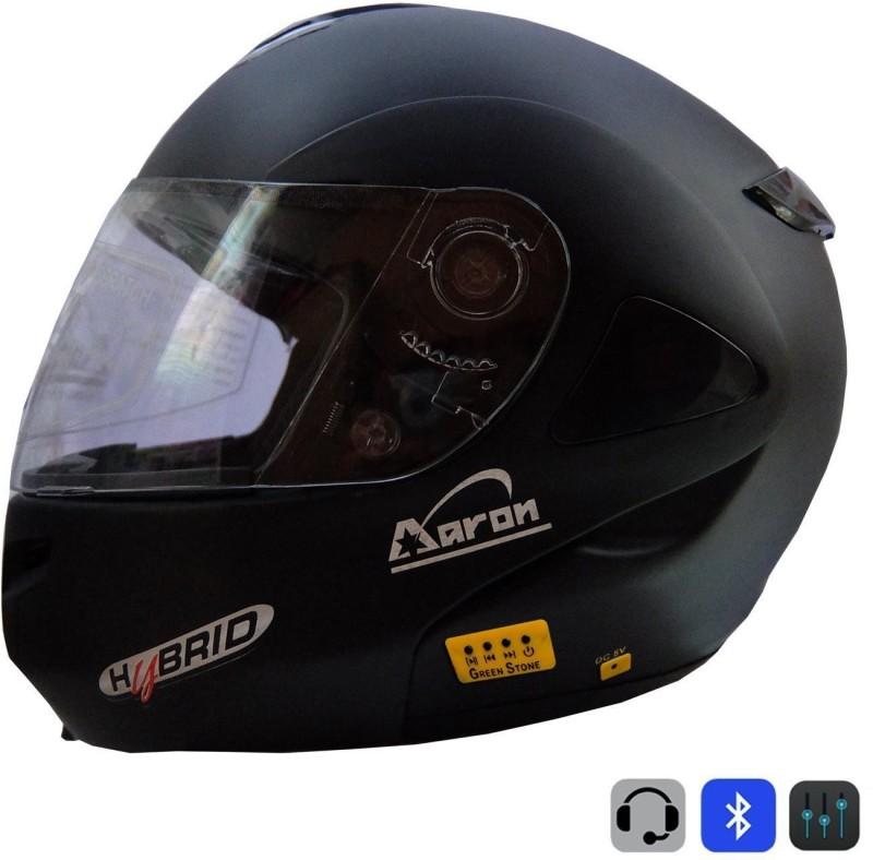 Greenstone Plain Bluetooth Motorbike Helmet(Black)