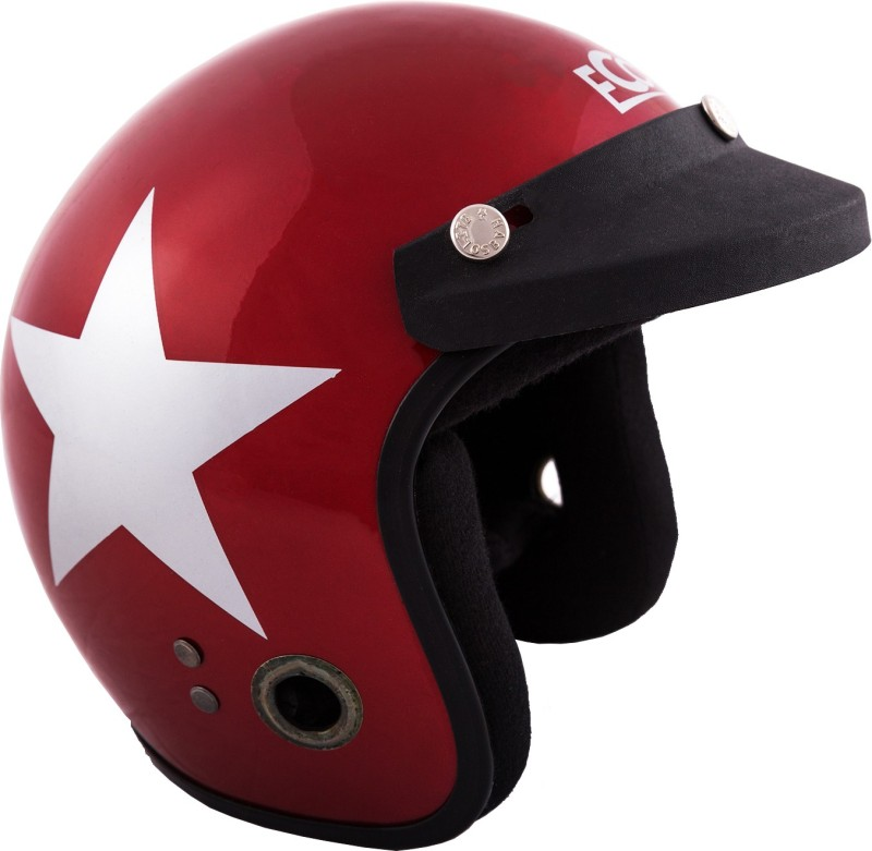 Autofy Habsolite Red & Grey Star Glossy Motorbike Helmet(Red)