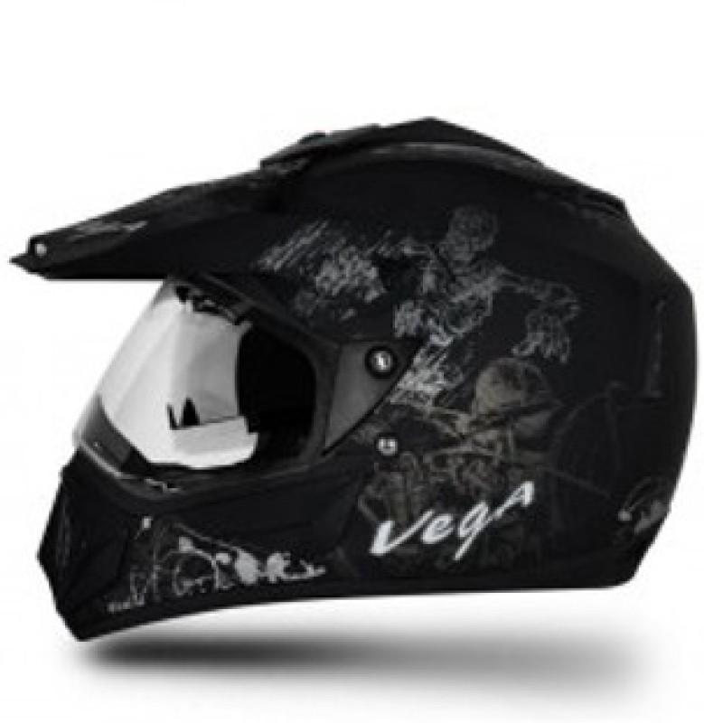 VEGA Off Road D/V Sketch Motorbike Helmet(Silver, Black)