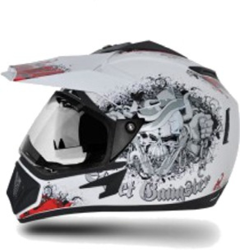 VEGA Off Road Gangster Motorbike Helmet(White, Red)