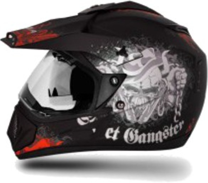 VEGA Off Road D/V Gangster Motorbike Helmet(Black, Orange)