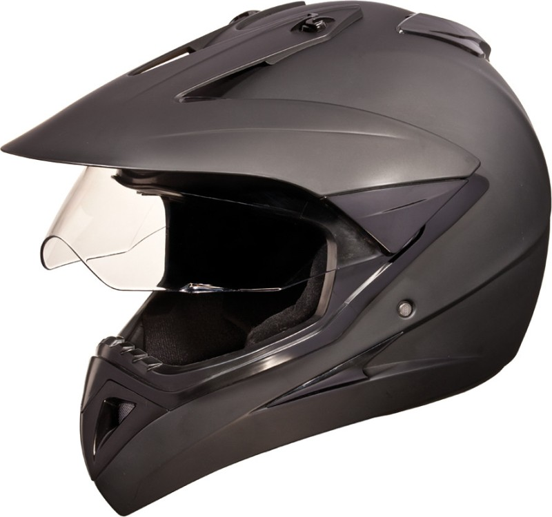 Studds Motocross with Visor Plain Motorsports Helmet(Matt Black)