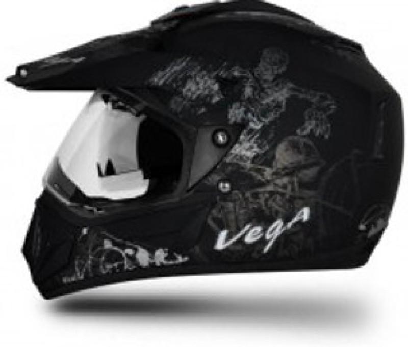 VEGA Off Road D/V Sketch Motorbike Helmet(Black, Silver)