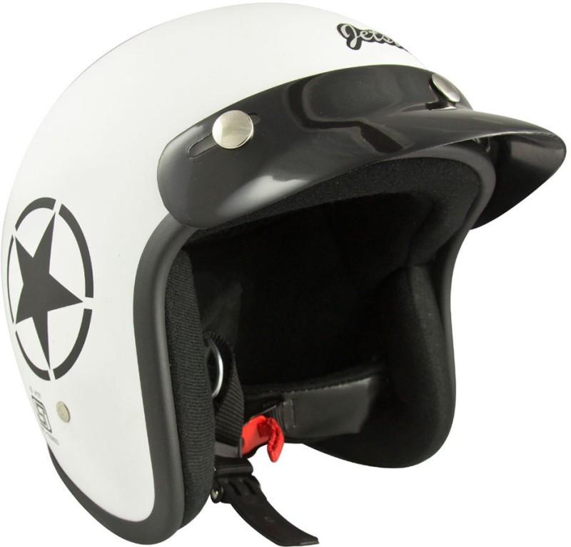 Anokhe Collections JetStar Retro (ISI Certified) Style Motorbike Helmet(White Matte)