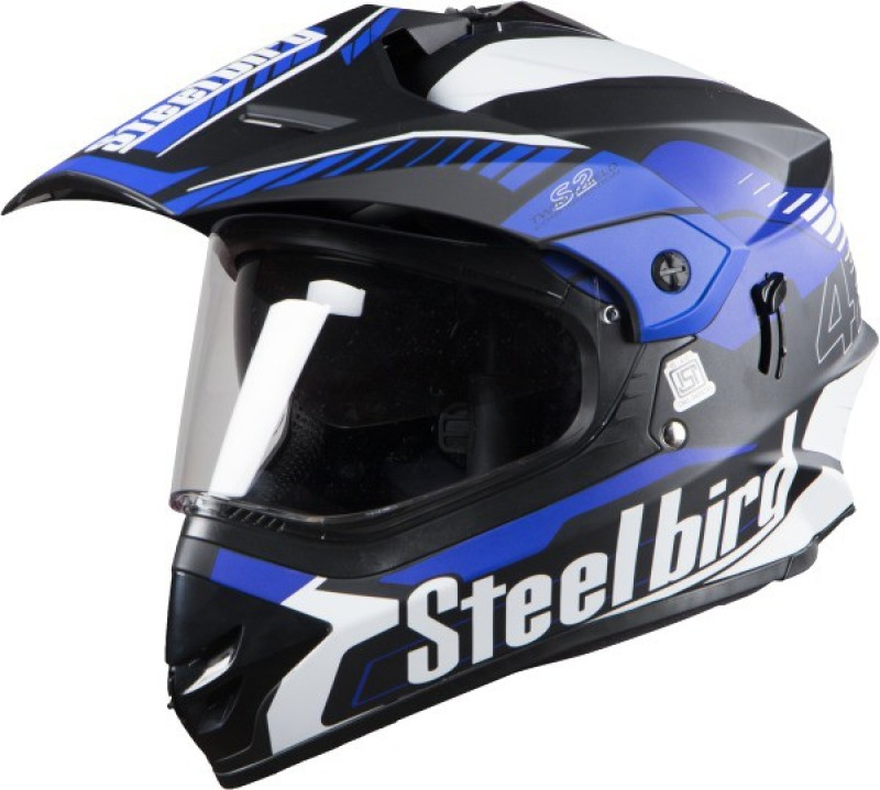 Steelbird SBH-13/SB-42 Motorbike Helmet(Matt black and blue)