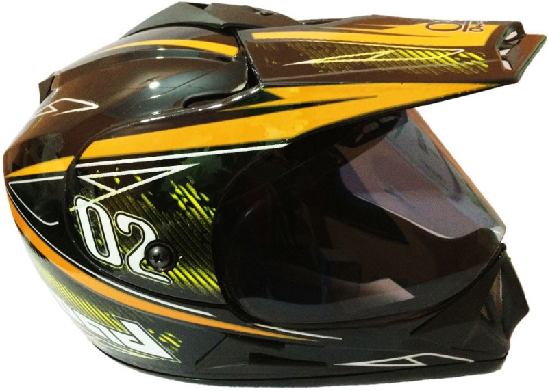 O2 Full Face ISI (Blk with Yellow) Motorbike Helmet(Black)