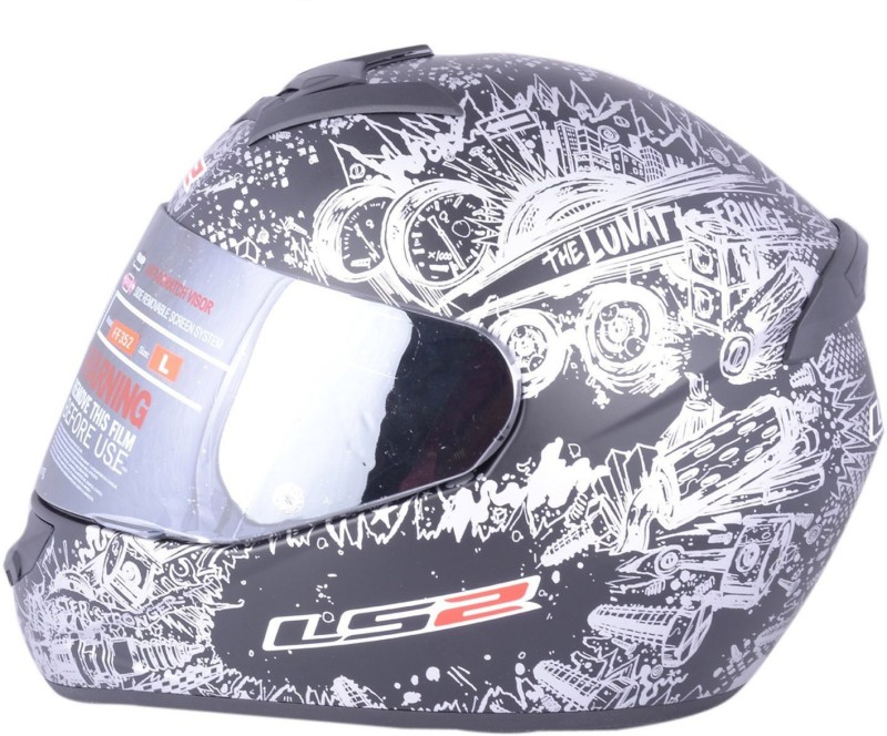 LS2 Lunatic Black Silver With Mercury Visor Motorbike Helmet(Black, Silver)